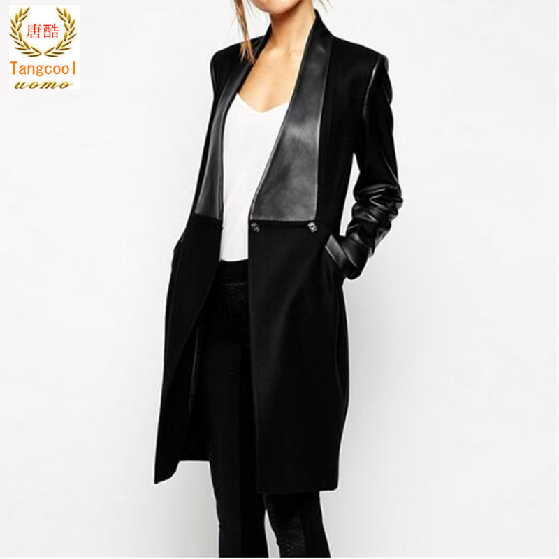 2018 Fashion New Long Overcoat Elegant Sale Black PU   Leather   Pockets Woolen Patchwork Female Coat abrigos mujer
