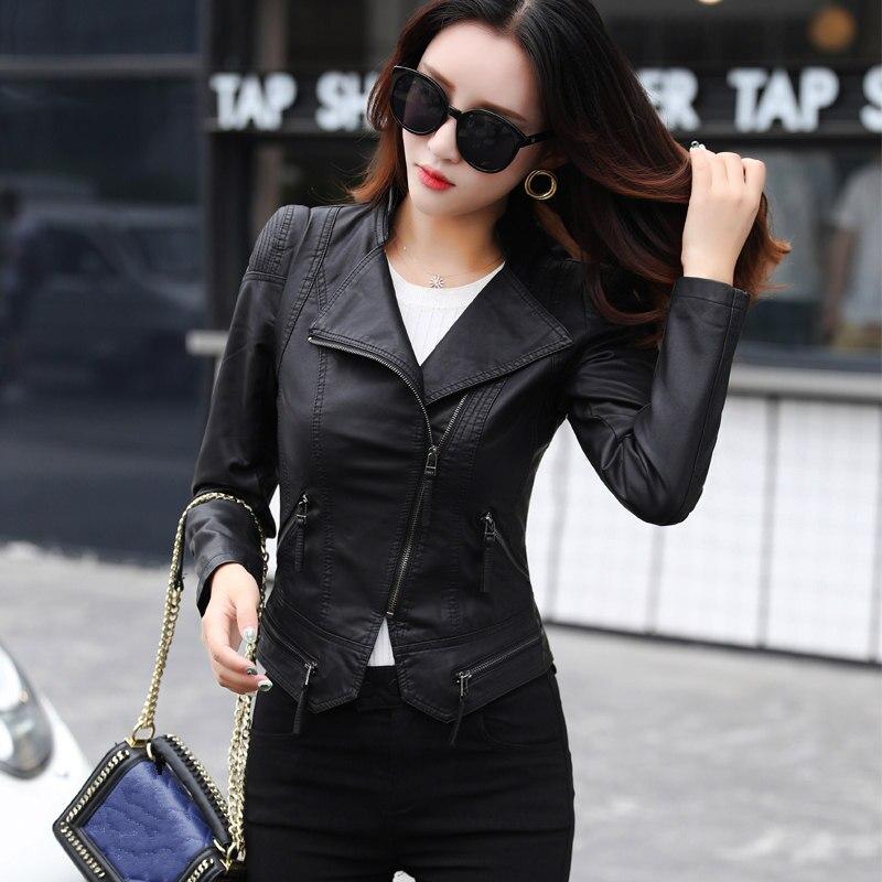 Automne nouvelle mode lavé PU cuir veste femmes Abrigo Mujer Slim noir Sexy femmes Biker veste courte Faux cuir manteau C4881