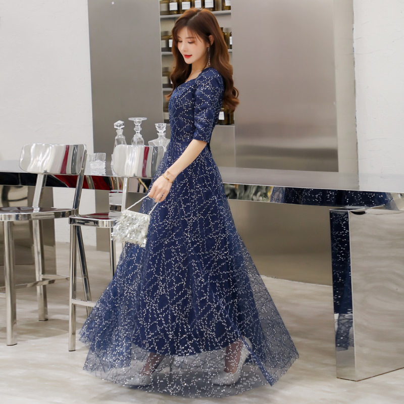 Evening     dress   sexy V-neck high quality fashion sequins starry embroidered sleeves long   dress   elegant   dress   blind date   dress