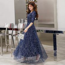 цена на Evening dress sexy V-neck high quality fashion sequins starry embroidered sleeves long dress elegant dress blind date dress