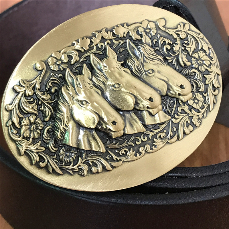 Leather Belt Men Horse Head Brass Belt Buckles Men Belt Jeans Strap Ceinture Homme Male Waist Belt Cinturon Hombre Riem MBT0541