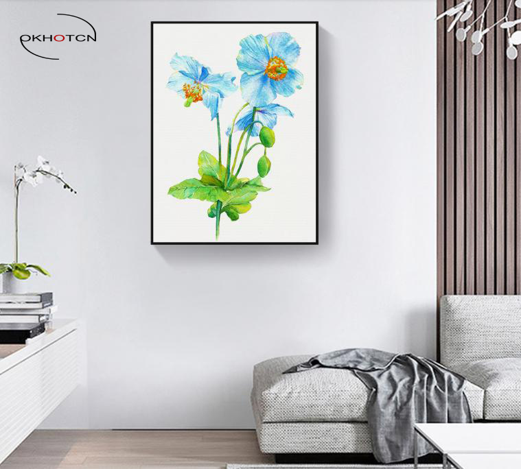 OKHOTCN Blue Flower Plant Unframed Canvas Painting Art Print Poster Picture Wall Paintings Home Decor Bedroom Decoration