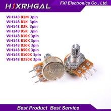 30 шт. WH148 B1K B2K B5K B10K B20K B50K B100K B500K 3Pin 15 мм вал усилитель Dual Stereo потенциометры 1 К 2 К 5 К 10 К 50 К 100 К
