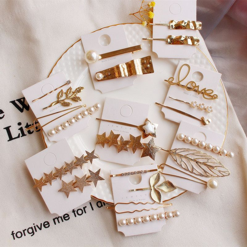 2019 New Metal Geometric Hairpins Minimalist Pearl Letter Hair Clip Barrettes Headwear Hair Grip Hair Accessories For Women