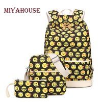 Miyahouse 3 Pcs Set Fashion Emoji Printing Backpack For Teenage Girls Large Capacity Canvas School Bag