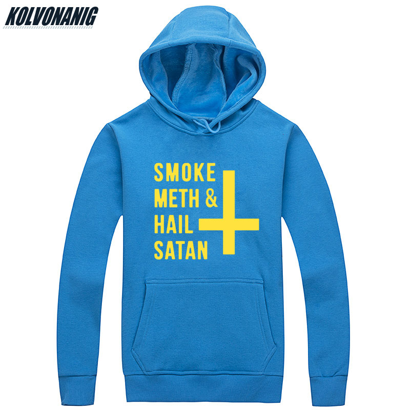 KOLVONANIG Mens Winter Dress SMOKE METH&HAIL SATAN Printed Sweatshirts Men Fitness Streetwear Pullover Cotton Hip Hop Hoodie
