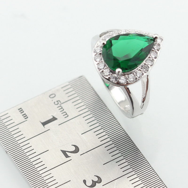 WPAITKYS Drop Water Trendy Green Cubic Zirconia Silver Color Ring For Women Party Crystal Jewelry Size 6 7 8 9 10 Free Gift Box 2
