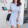 VOGUE SIS A-Line Casual Half Women Dress Summer Hot Selling Stand Striped Cotton Bow Buttons Korean Style Female Shirt Dresses