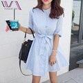 Sis vogue una línea casual mitad mujeres dress del verano venta caliente de pie de algodón a rayas arco botones de camisa femenina de estilo coreano vestidos