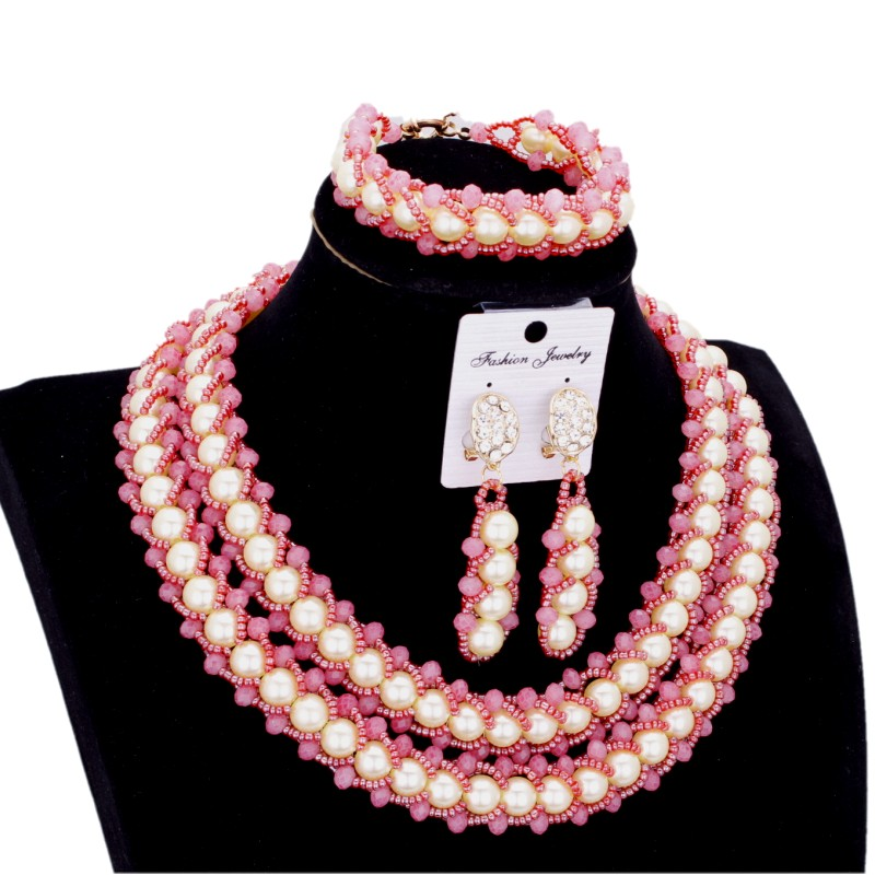 Ensembles de mariée bijoux pêche blanc femmes Imitation bijoux ensemble perles 2 couches Bracelet boucles d'oreilles collier ensemble livraison gratuite 2018