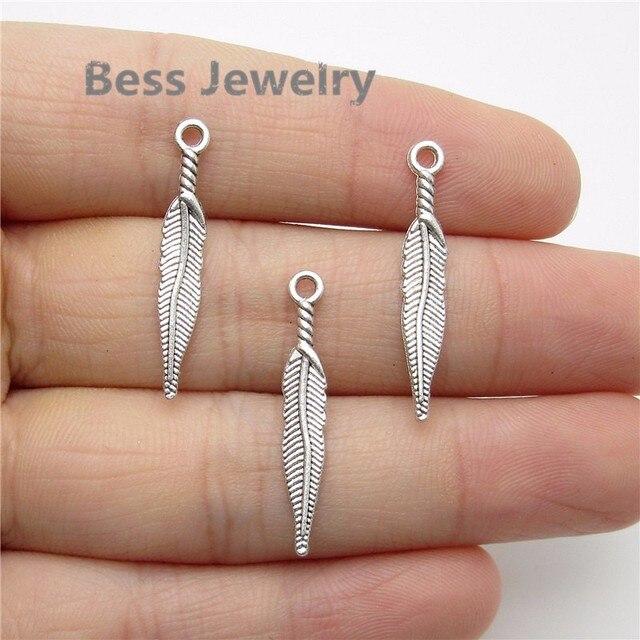 417dfd39b 100pcs(28*5mm) Antique Silver tree leaf Charm fit for pandora style  Bracelets Necklace Pendant DIY Metal Jewelry Making