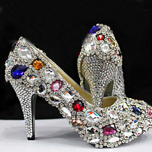 Handmade marriage high heels rhinestone wedding shoes genuine leather platform high-heeled Bridesmaid Shoes Party Prom Pumps