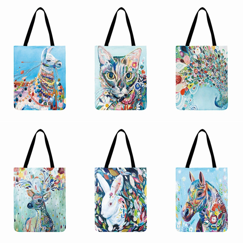 Colourful Watercolor Animal Oil Painting Printed Tote Bag Casual Totes Foldable Shopping Bag Linen Fabric Outdoor Beach Bag