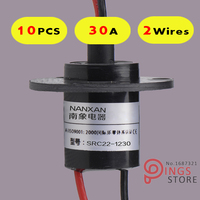 10PCS 2 Wires Circuits 30A 22mm Wind Generator Slip Ring Wind Turbine Slip Ring Rotating