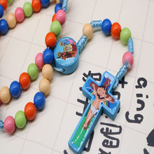 2019 new rosary cartoon Jesus cross pendant handmade twisted rope color necklace children girl Catholic fashion religious