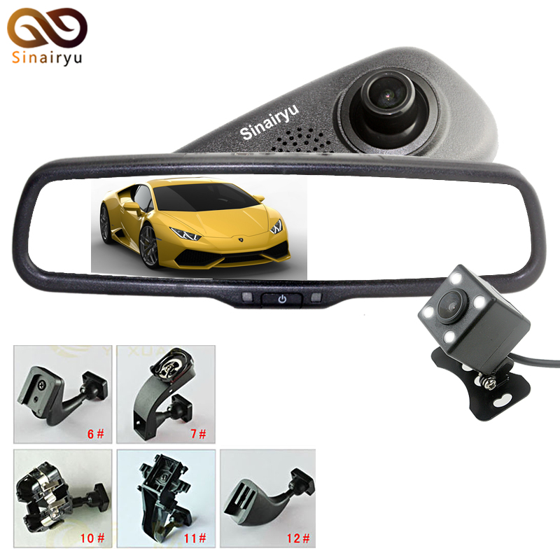 Original Bracket Full 1080P Car Camera DVR Dual Lens Rearview Mirror Video Recorder FHD 1080P Automobile DVR Mirror Dash Cam цена