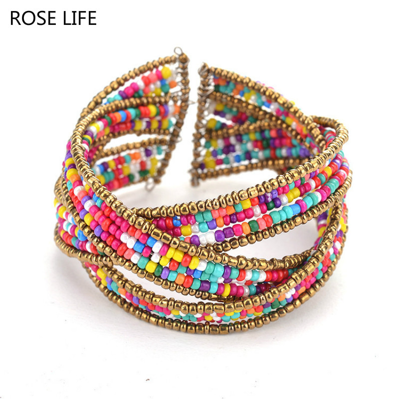 ROSE LIFE Fashion Multicolor Bohemian Wrap Bracelets Charms Glass Bracelets & Bangles Jwelry for Women