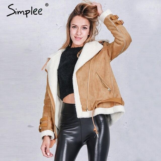 Simplee Vintage замши овечьей шерсти короткая куртка пальто Зимние черные теплые hairly воротник куртки Женщины осень ремень женский пальто