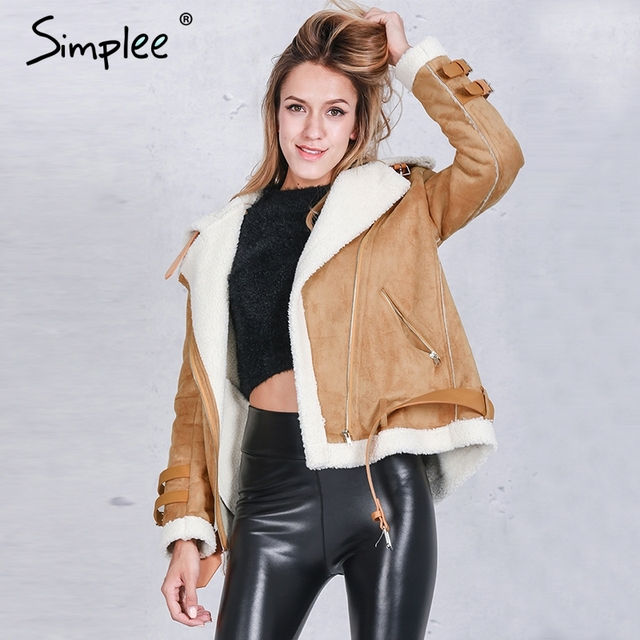 Simplee Vintage suede lambswool short jacket coat Winter black warm hairly collar jacket Women autumn belt female overcoat