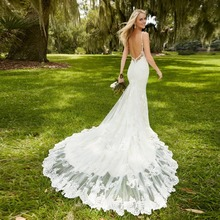 Vestido De Noiva New Mermaid Lace Wedding Dresses Sweetheart Open Back Spaghetti Straps White Mermaid Bride Dresses Casamento