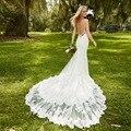 Vestido De Noiva New Lace Sereia Vestidos de Casamento Do Querido Abrir Voltar Spaghetti Branco Sereia Vestidos de Noiva Casamento