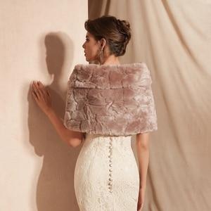 Image 5 - جاكيت زفاف مزين بالفراء من البوليستر لحفلات الزفاف بجانبك أغطية حفلات مسائية وردية داكنة