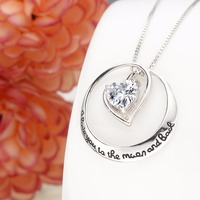 Bella Fashion Bridal Charm Necklace 925 Sterling Silver Heart I Love U 2 The Moon And