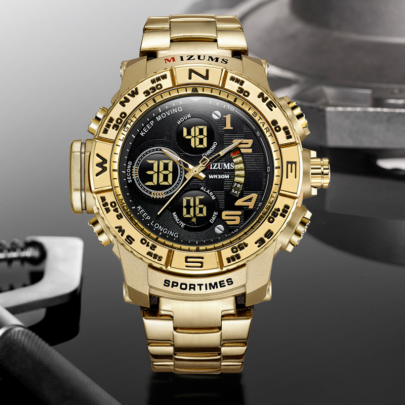2018 brave for men cool big case golden steel band dual time zones watches for men led digital quartz mens watches drop shipping 2019  (76)