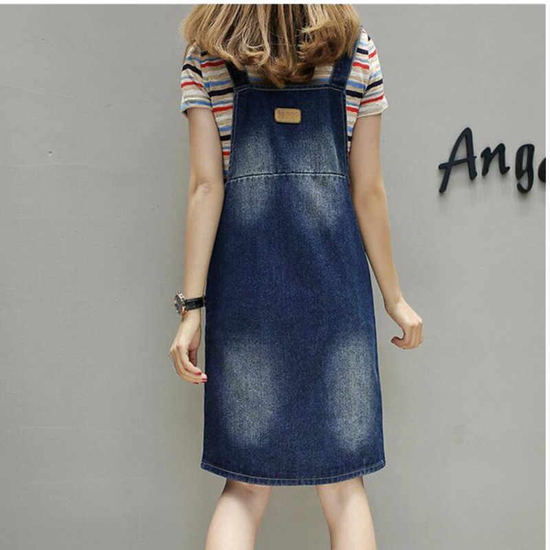 YAGENZ 5XL летнее женское джинсовое платье большого размера 2017 свободный Синий Регулируемый Ремень джинсовый ремень женское платье повседневные джинсовые комбинезоны