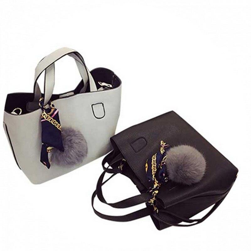 Image 5 - Bolso de mujer de piel sintética suave a la moda, bolso de hombro femenino de dos piezas, bolso de mensajero informal para chicas, bolso de mujer con fecha Borgoña/negroBolsos de hombro   -