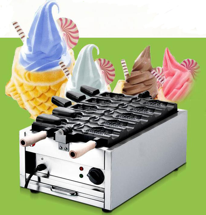 Buy one get 6 gifts !!! 110v 220v Open mouth ice cream taiyaki machine fish cone maker