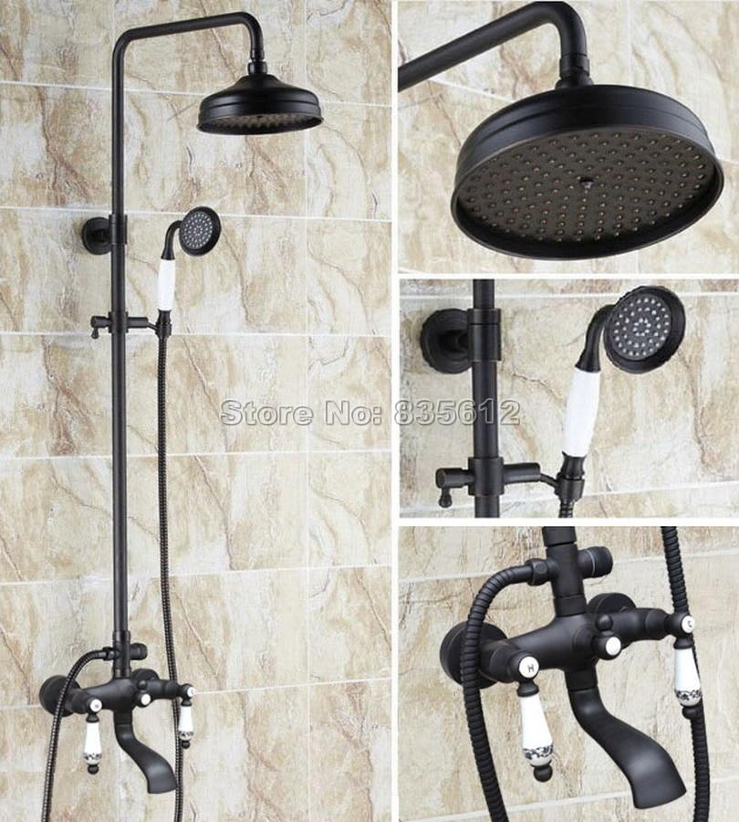 Bathroom Black Oil Rubbed Bronze Wall Mounted Dual Ceramic Handles Rain Shower Faucet Set Bath Tub Mixer Tap Whg122