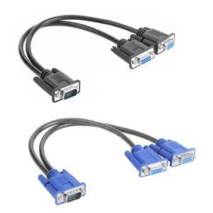 Image 2 - Vga Splitter Kabel 1 Computer Naar Dual 2 Monitor Adapter Y Splitter Man vrouw Vga Wire Cord Voor Pc laptop
