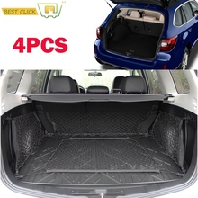 4Pcs/set of Cargo Nets For Subaru Outback XV Envelope Floor Side Trunk Net with Hooks Mesh Elastic Luggage Storage Accessories