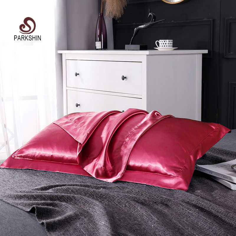 Parkshin Wine Red Size 48X74CM Healthy Pillow Case Home Textiles Decorative 100% Pure Satin Silk Throw Bedding Pillow Cover