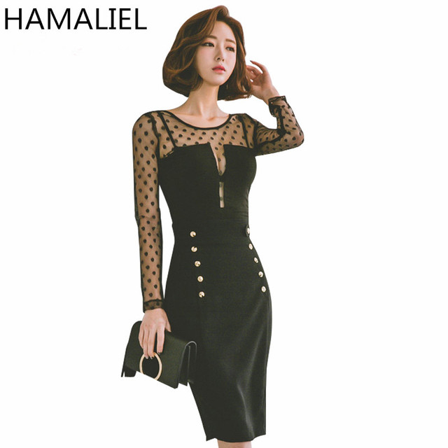 22eaf9bf209c Spring Women Sheath Dress 2018 Korea Style Fashion Sexy Dot Patchwork Black  Long Sleeve Female Bodycon Pencil Party Dress