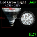 Newest 8Red&4Blue 36W E27 AC85-265V LED Grow Light Lamp For Flowering Plants Greens Vegatables And Hydroponics With High Power