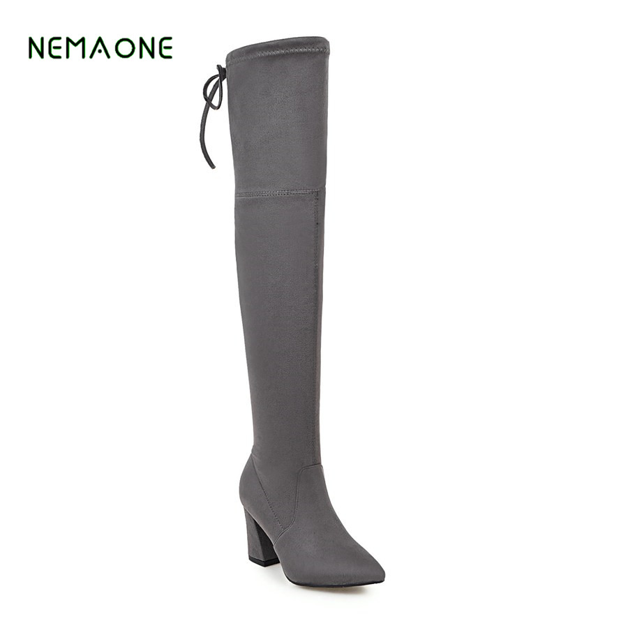 NEMAONE  2017 New Autumn Winter Lace-Up Women Over -the-knee Boots Sexy Suede Slim Women Motorcycle Boots Thigh High Shoes Woman enmayla winter autumn round toe low heel knee high boots women flats lace up shoes woman rider brown black suede motorcycle boot
