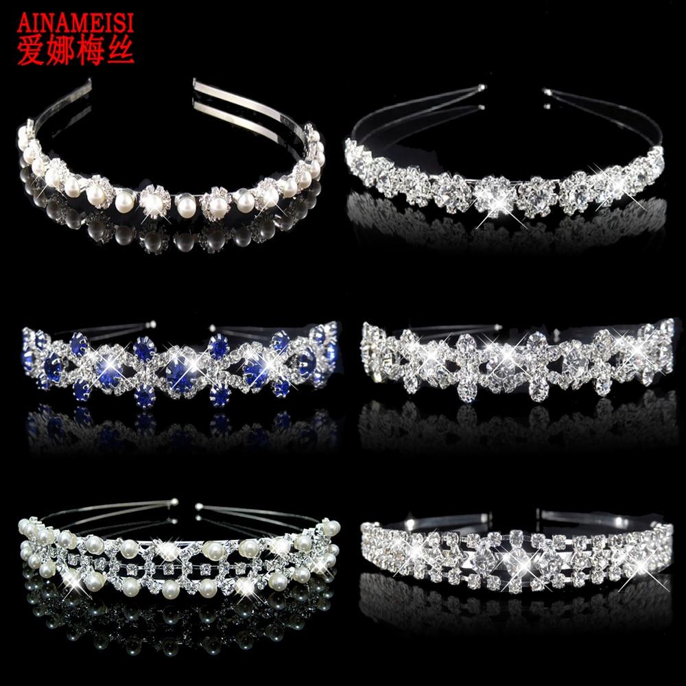 AINAMEISI Princess Tiara Bridal Prom Crown Girl Elegant Hairbands Pearl Crystal Wedding Hair Jewelry Accessories Headband Gift