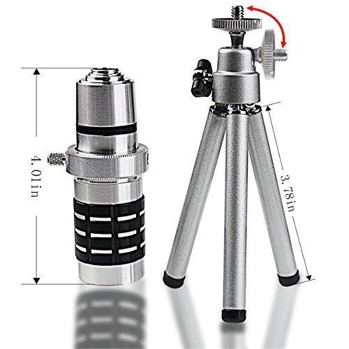 Telescoop Lente 12X Optische Statief + AWESOME 3 Lenes 9 Stuk Camera Zelf Telefoon Lens Kit Voor Samsung Galaxy S9 s7 S8 S6 Rand PLUS - 4
