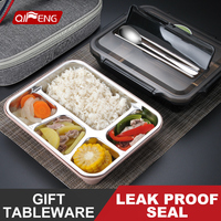 QF 304 Stainless Steel Heat Preservation Lunch Box Bento Box Dining Tray Division Student With Plastic