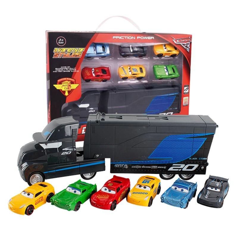 7Pcs/set Disney Pixar Cars 3 2 Lightning McQueen Jackson Storm Mack Uncle Truck 1:55 Diecast Toy Vehicles Gift Toys For Children
