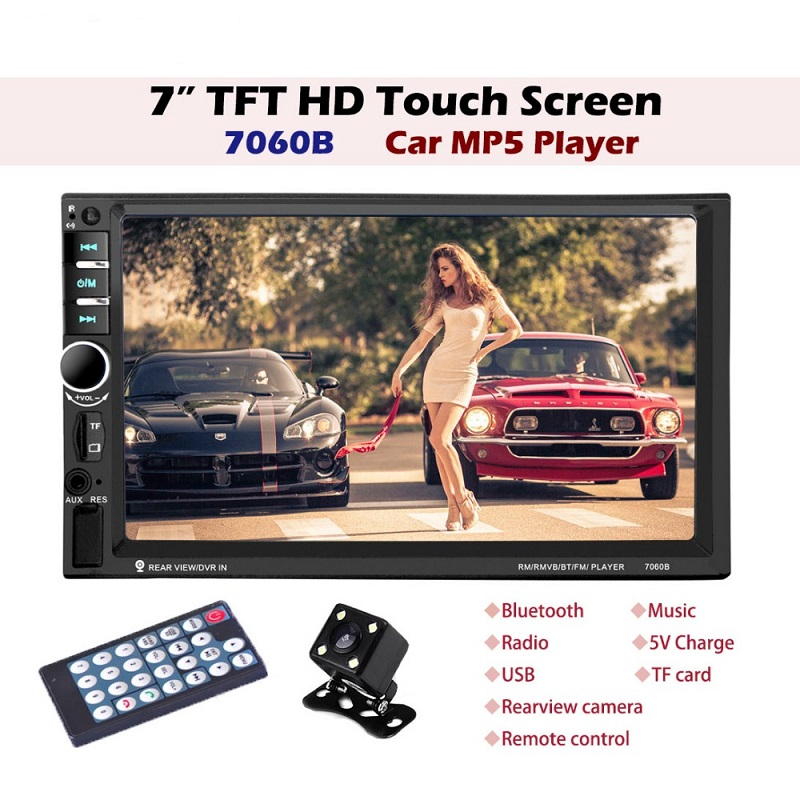 7060B 7inch Car Audio Stereo MP5 Player 12V Auto Video Remote Control Bluetooth FM Radio TF Card and Firmware update with Camera7060B 7inch Car Audio Stereo MP5 Player 12V Auto Video Remote Control Bluetooth FM Radio TF Card and Firmware update with Camera