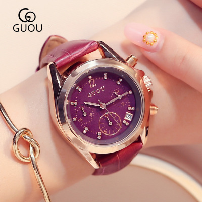 GUOU Watch 2018 Fashion Sport Leather Watches Women Ladies Quartz creative wrist watch female Clock moment Hour