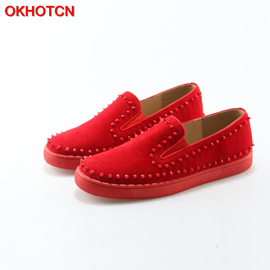OKHOTCN Handmade Fashion Mens Shoes Red Suede Rivets Round Toe Slip-on Flats Hot Style Popular Shoes Men Sneakers soft flats round toe suede slip on plimsolls
