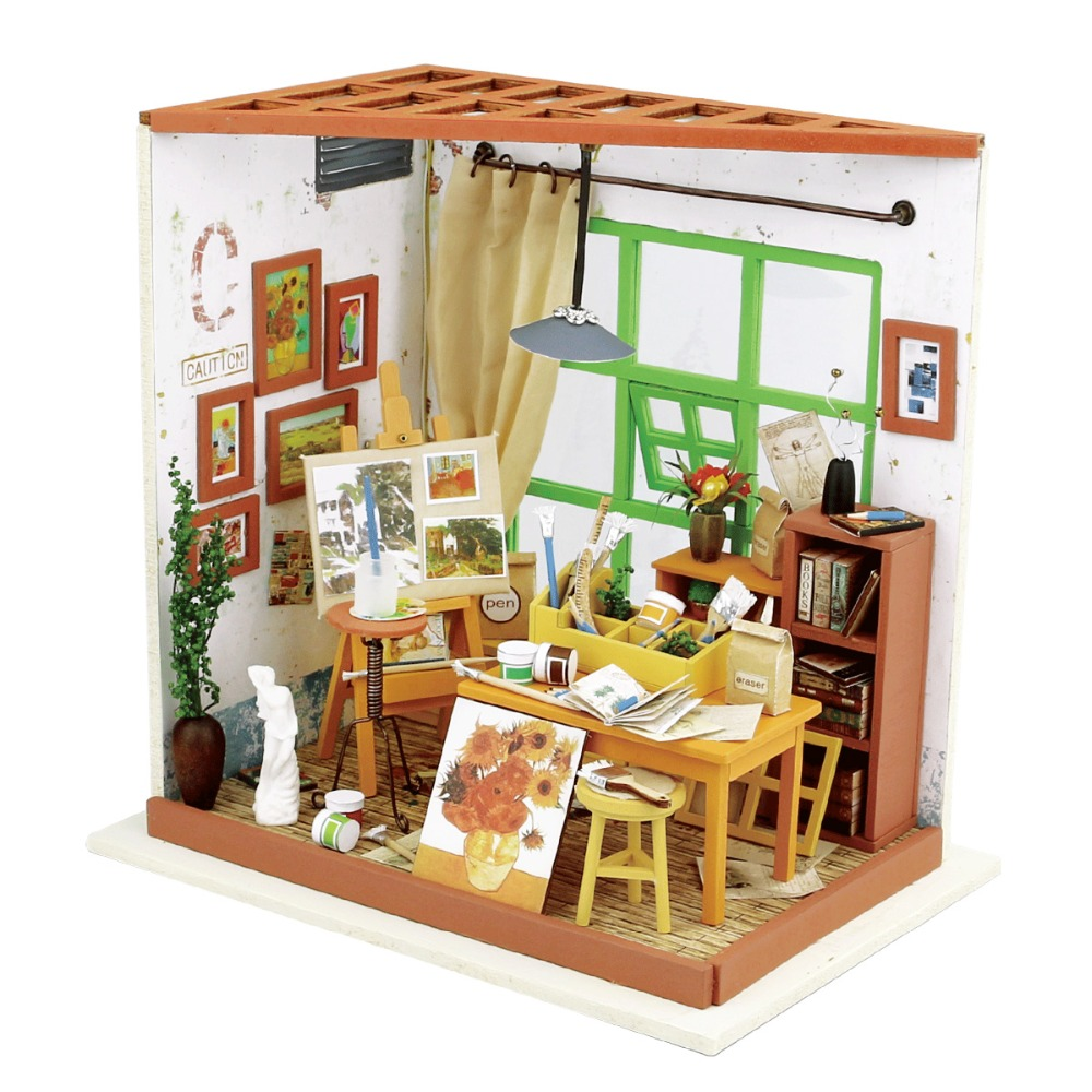 New Doll House Toy Miniature Wooden Doll House Loft With: Aliexpress.com : Buy Robotime DIY Ada's Studio Children