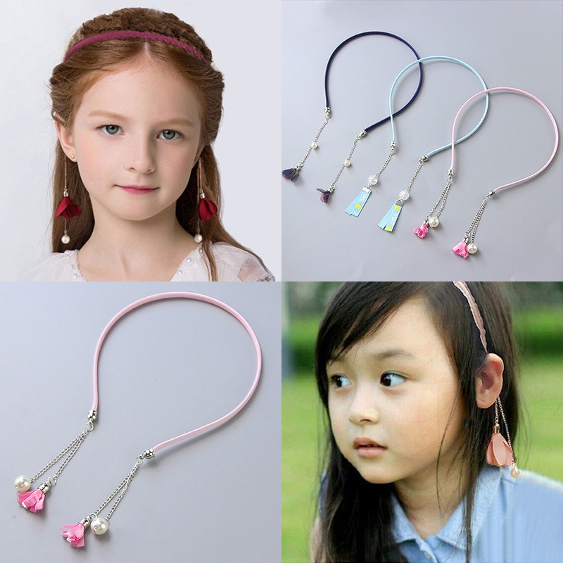 Kids Girl Fashion Retro Tassel Fake Earrings Hair Hoop Hair Band Fur Ball Rhinestone Hairband Hair Accessories a suit of retro fake gem rhinestone leaf tassel necklace and earrings for women