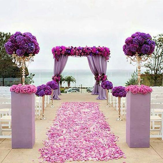 Beach Wedding Flower Ideas: SPR Purple Table Centerpiece Wedding Arch Flower Wall