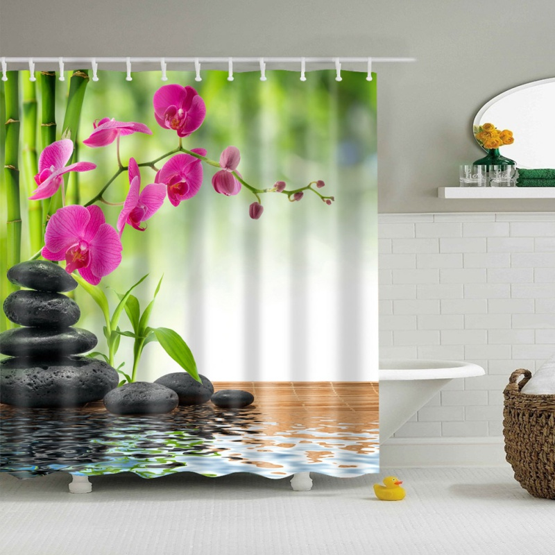 Scene 3D HD Digital Printed Shower Curtains Waterproof Quality Shower Moisture-proof Bathroom Curtains Case Curtain Voile Fabric