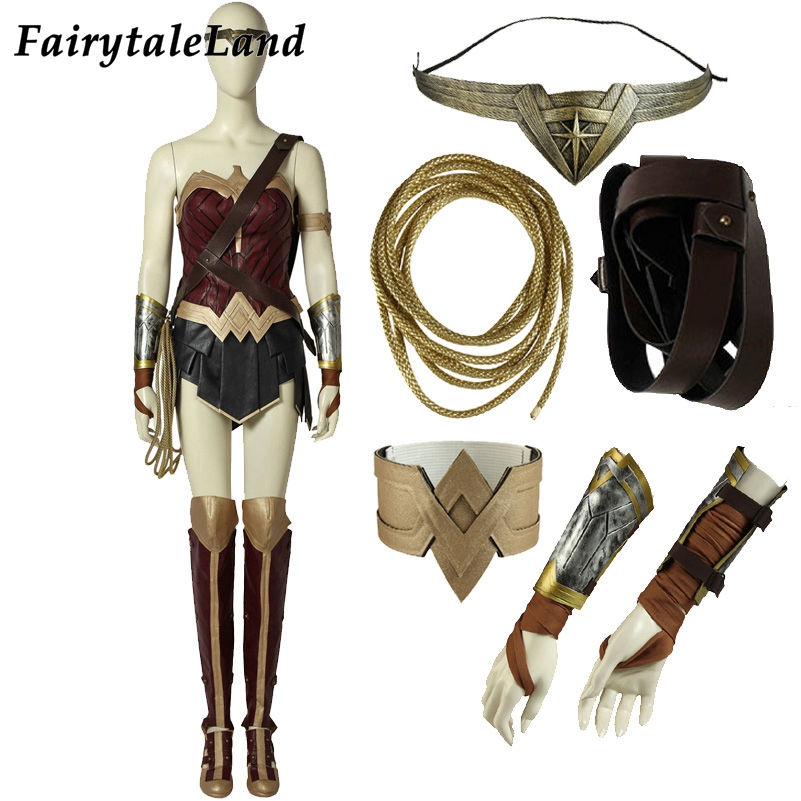 Wonder Woman Cosplay Costume Custom Made Halloween Fancy Costumes Adult Superhero Diana Prince Outfit Costume Wonder Woman Suit